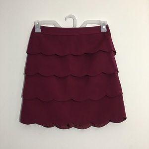 Maroon Scalloped Layered Skirt